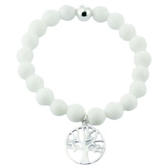 Stretch bracelet white agate gemstone and silver tree of life charm
