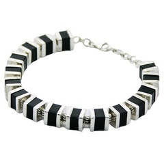 Silver and black agate dice bracelet