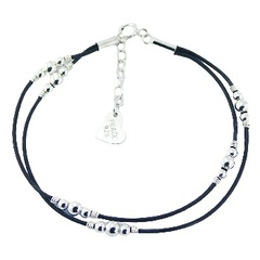 Double leather bracelet round silver beads
