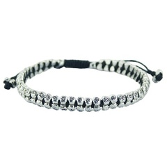 Macrame bracelet with double row of silver beads