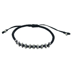 Macrame bracelet with double silver rhombus beads