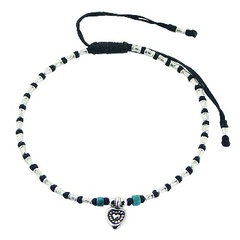 Macrame bracelet with silver fluted and turquiose beads & silver heart charm