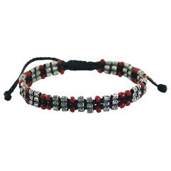 Macrame bracelet triple row red glass & silver beads with flower pattern