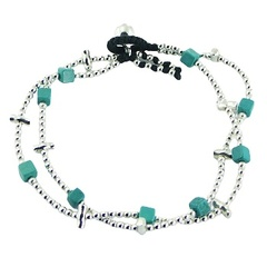 Double macrame bracelet turquoise cubes, silver beads and tubes