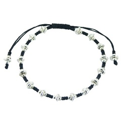 Macrame bracelet with silver donut & round beads