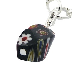 Cute murano glass multicolored bands flowers sterling silver charms