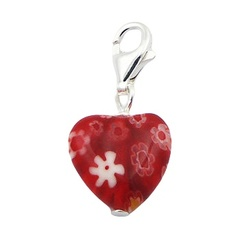 Multicolored heart shaped floral pattern murano glass sterling silver charm