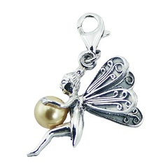 Swarovski pearl adorable detailed fairy polished sterling silver clip-on charm