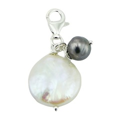 Luxury double differently sized freshwater pearls sterling silver charm