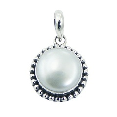 Antiqued balinese design white freshwater pearl silver pendant