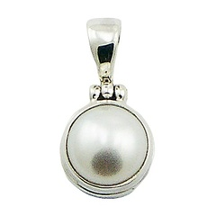Simple round freshwater pearl polished sterling silver handmade pendant