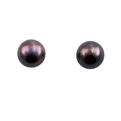 Tiny gentle colored freshwater pearl stamped sterling silver stud earrings