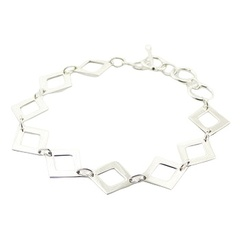 Large link sterling silver bracelet open diamond shapes