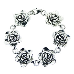 Romantic sterling silver rose flowers bracelet