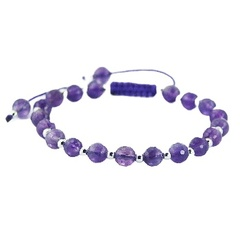 Shamballa bracelet with amethyst and silver beads