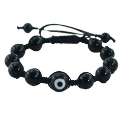 Black agate and evil eye shamballa bracelet