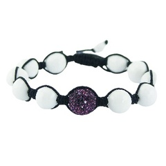 Shamballa bracelet with white agate and violet Czech crystal ball