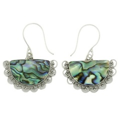 Dangle abalone shell vintage sterling silver ornamented earrings