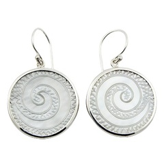 White twirled engraved mother of pearl natural design stamped sterling silver earrings