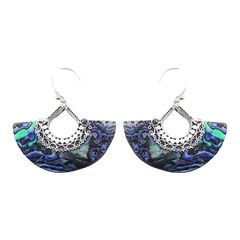 Fan shaped sea green marine iridescent abalone shell hand soldered sterling silver earrings