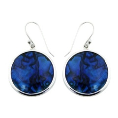 Round framed blue abalone-paua shell polished sterling silver earrings