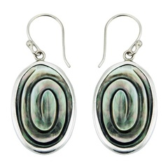 Oval green iridescent shell polished sterling silver trimmed earrings