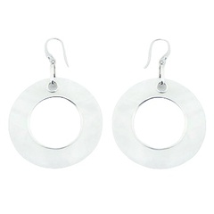 Oversized mother of pearl white iridescent hoops dangling sterling silver
