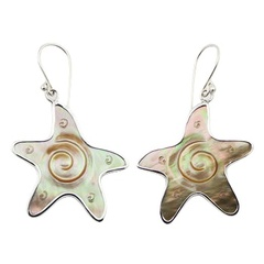 Star shaped rainbow shell engraved sterling silver dangle earrings