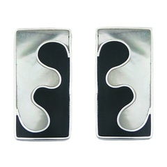 Modern handmade contrasting black shell white mother of pearl puzzle sterling silver earrings