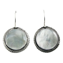 Ornamented handmade white mother of pearl sterling silver earrings
