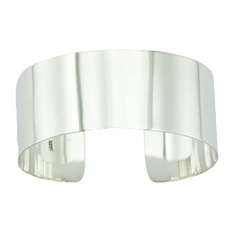 Silver bangle bracelet 2 inches wide