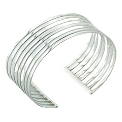 Silver bangle bracelet eight rows