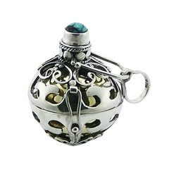 Ornate silver harmony ball ornamented antique design gemstone pendant