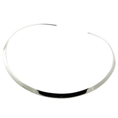 Solid and wide silver choker necklace 5mm gauge
