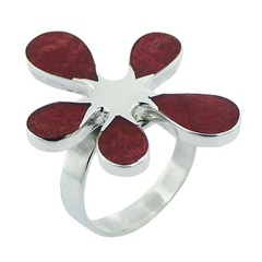 Handmade fashionable floral sponge coral polished sterling silver ring