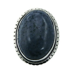 Oval blue coral ornate silver ring 2
