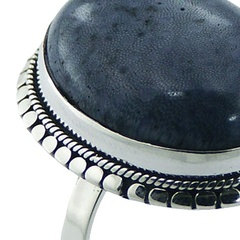 Oval blue coral ornate silver ring 3