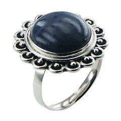 Vintage style blue coral ornate flower sterling silver ring