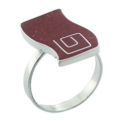 Handmade red sponge coral wavy shape inlay sterling silver ring