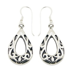 Ajoure drop shaped casted polished sterling silver antiqued earrings