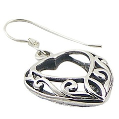 Vintage ajoure heart silver earrings 2