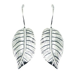 Nature inspired realistic leaf casted sterling silver drop earrings