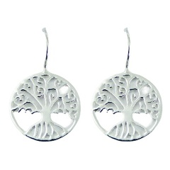 Exquisite detailed tree of life casted 925 sterling silver drop earrings