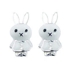 Cute animal nature inspired casted enamel polished sterling silver earrings