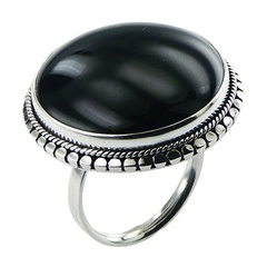 silver-gemstone-rings/antiqued-ornate-silver-surround