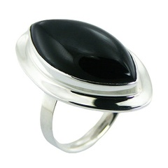Marquise shaped black agate sterling silver ring
