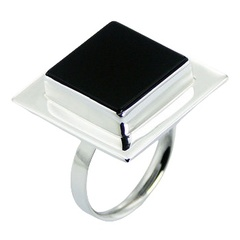 Handmade square black agate gemstone adjustable sterling silver ring