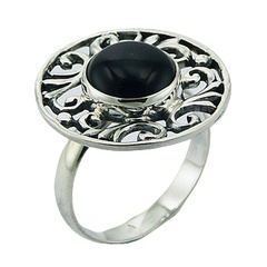 Ajoure flange tasteful elegant convexed black agate cabochon polished sterling silver ring