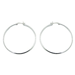 Polished sterling silver classic design hoop latch back 50 mm earrings