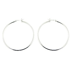 Polished sterling silver 60 mm bended hoops classic earrings